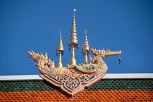 Decorative Item Atop Roof Of Hall, Wat Sri Bun Rueang, Chiang Rai, Thailand