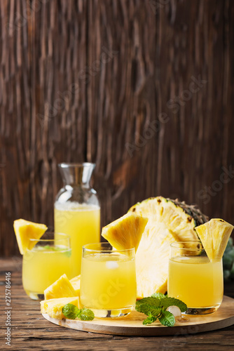 Fresh summer pineapple juice