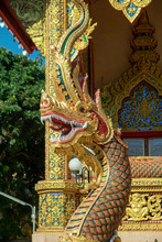 Naga At Entrance To Hall At Wat Sri Bun Rueang, Chiang Rai, Thailand