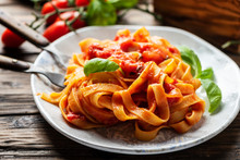 Pasta Fettuccine With Tomato And Basil