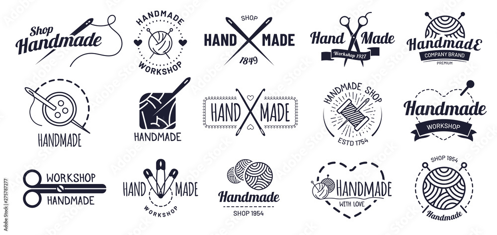 Fototapeta Handmade badges. Hipster craft badge, vintage workshop labels and handcraft logo. Logotype workshop, hand made craft insignia tag or authentic ink sticker. Isolated icons vector illustration set