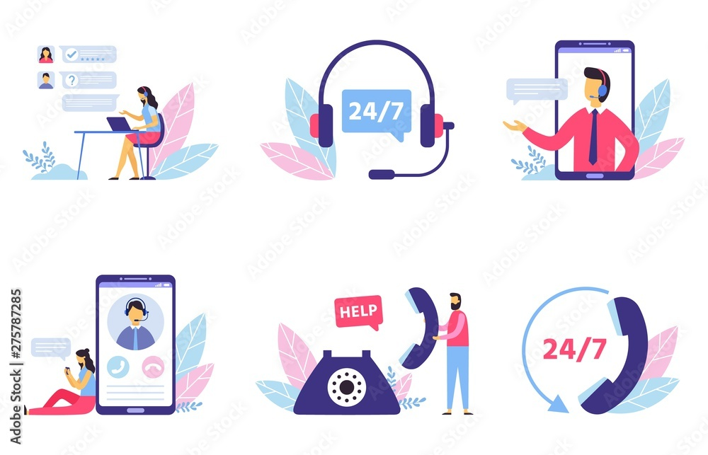 Fototapeta Customer support. Personal assistant service, person advisor and helpful advice services. Social media network services, online supporter agents. Isolated flat vector illustration icons set