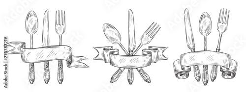 Obraz na plátně  Cutlery with ribbon