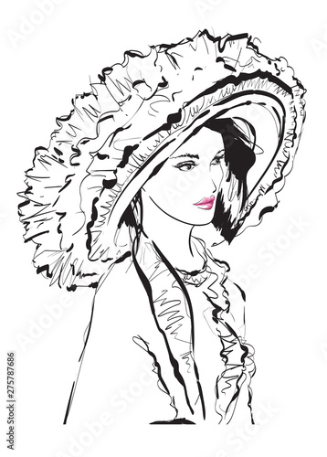 Poster Portrait Aquarelle Beautiful young woman with large luxury hat. Fashion sketch. Fashion girls face. Hand-drawn fashion model. Woman face on a white background. Summer time