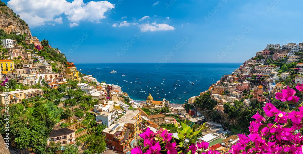 Fototapety, obrazy: Landscape with Positano town at famous amalfi coast, Italy