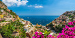 Leinwanddruck Bild - Landscape with Positano town at famous amalfi coast, Italy