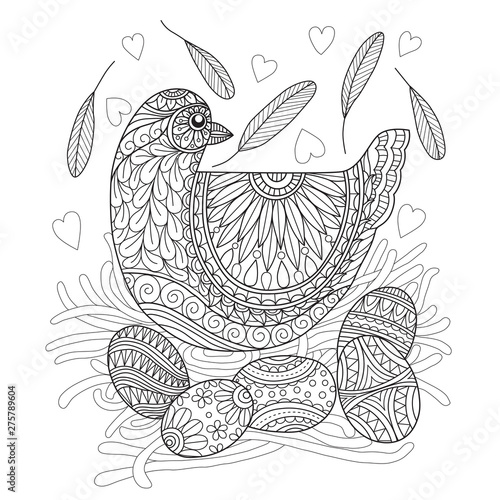 Tablou Canvas Hand drawn sketch illustration of hen and egg for adult coloring book