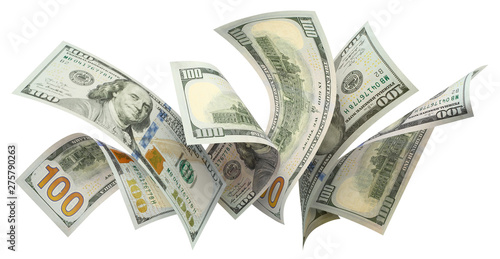 Flying 100 American dollars banknotes, isolated on white background Wallpaper Mural