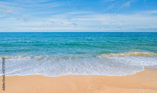 Foto op Canvas Strand Summer concept background : Software On the beach with blue sky and clouds in Thailand for background