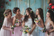 canvas print picture - Beautiful young woman bride with friends. A wedding celebration