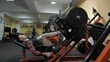 Brutal strong bodybuilder pumping up muscles, doing exercises in gym