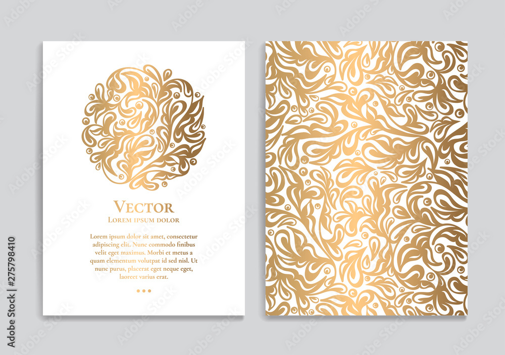 Fototapety, obrazy: White vector greeting card with golden luxury ornament template. Great for invitation, flyer, menu, brochure, postcard, background, wallpaper, decoration, packaging or any desired idea.
