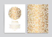 White Vector Greeting Card With Golden Luxury Ornament Template. Great For Invitation, Flyer, Menu, Brochure, Postcard, Background, Wallpaper, Decoration, Packaging Or Any Desired Idea.