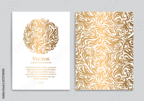 White vector greeting card with golden luxury ornament template Fototapeta