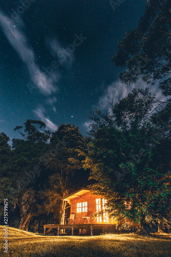 Canvastavla Cabin in the woods under a clear night sky, Diamond Beach, New South Wales