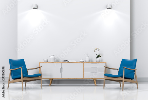 Valokuva  3D rendering of living Room Interior with armchair and sideboard