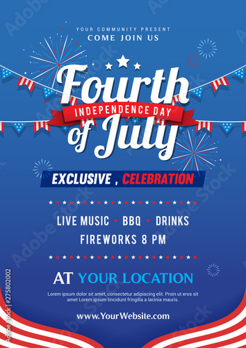 Tablou Canvas Fourth of July invitation poster template vector design, USA Independence day fl