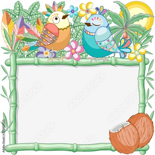 Foto auf Gartenposter Ziehen Birds Cuties on Summer Bamboo Frame Vector Background Illustration