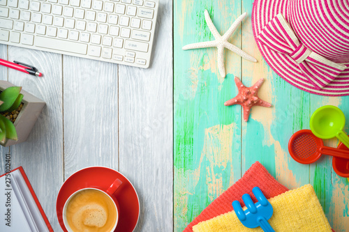 Poster de jardin Route Summer holiday vacation concept with beach accessories and office desk background. Top view from above