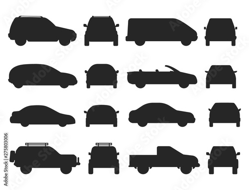 Fotografia, Obraz Car auto vehicle transport silhouette type design travel race model technology style and generic automobile contemporary kid toy flat vector illustration