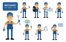 Set Of Auto Mechanic Characters Posing In Different Situations. Cheerful Worker Showing Thumb Up, Pointing, Holding Banner, Phone, Document, Wrench, Tire. Simple Style Vector Illustration