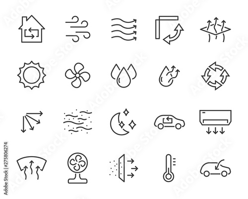 Photo set of air icons, such as air filter, temperature, air purifier, dust