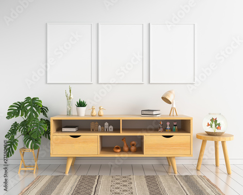 Valokuvatapetti Three blank photo frame for mockup and sideboard in living room, 3D rendering
