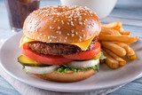 Fototapeta Coffie - Plant Based Cheeseburger