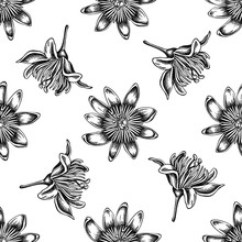 Seamless Pattern With Black And White Passion Flower