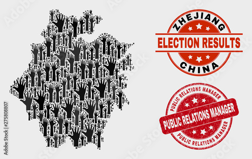 Poll Zhejiang Province map and seal stamps. Red rounded Public Relations Manager distress seal stamp. Black Zhejiang Province map mosaic of raised referendum arms.