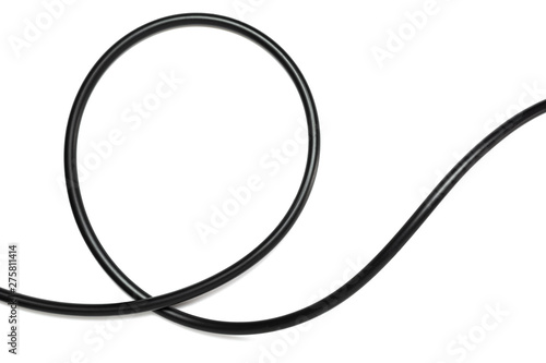 Obraz A Black wire cable isolated on a white background abstraction. - fototapety do salonu