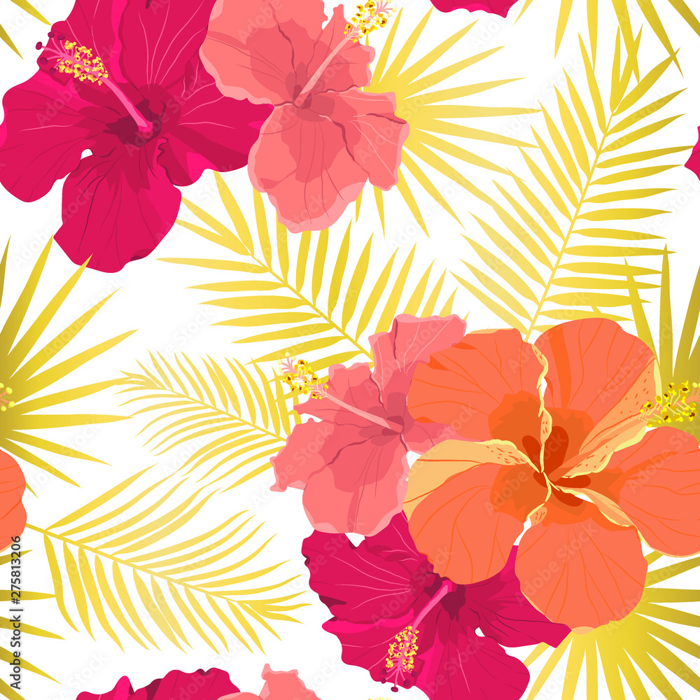 Fototapeta Vector tropical pattern with hibiscus flowers and tropical leaves. Floral background design for cosmetics, spa and textile.