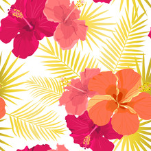 Vector Tropical Pattern With Hibiscus Flowers And Tropical Leaves. Floral Background Design For Cosmetics, Spa And Textile.