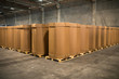 canvas print picture - Stack of big industrial cardboard boxes. Craft Cargo Boxes stacked side by side in a factory
