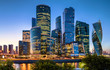 Moscow-City at night, Russia. Moscow-City is a business district at Moskva River. Evening view of commercial and residential skyscrapers. Panorama of modern tall buildings in Moscow center at dusk.