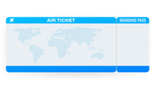 Airline Tickets Or Boarding Pass Inside Of Special Service Envelope. Vector Stock Illustration.