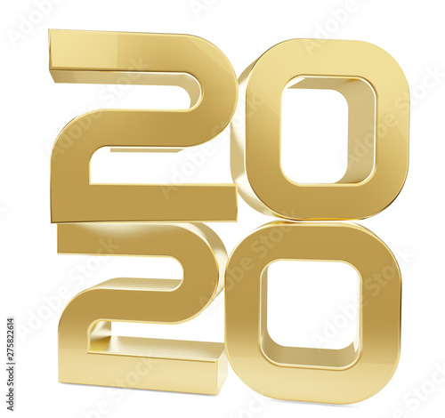 Fotografia  2020 stacked golden bold letters 3d-illustration