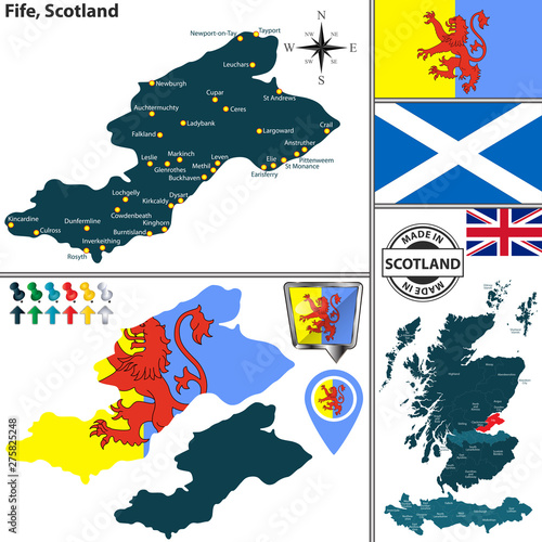 Foto Map of Fife, Scotland