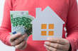 Euro money and house plans