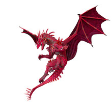Crystal Dragon In White Background