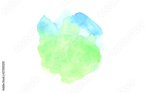 Abstract watercolor and acrylic blot painting. Blue and green Color design element. Texture paper. Isolated on white background.