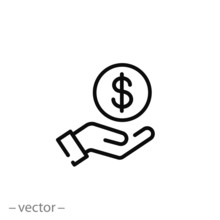 Save Money Icon, Salary Money, Invest Finance, Hand Holding Dollar, Line Symbols On White Background - Editable Stroke Vector Illustration Eps10