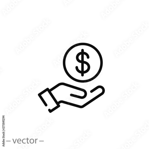 Fotografía save money icon, salary money, invest finance, hand holding dollar, line symbols
