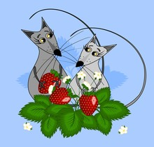 Two Mice In Love With A Berry ...