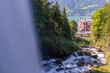 Hotel On Beautiful Scenery In The Mountains Of Switzerland