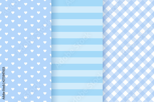 fototapeta na lodówkę Baby boy pattern. Baby shower seamless texture. Vector. Blue pastel childish background. Cute textile print for invitation, invite template, card, birth party, scrapbook. Flat design illustration