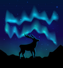 Landscapes Northern Lights In The Starry Sky And  With Silhouette Of Deer On Mountains. Vector Eps10