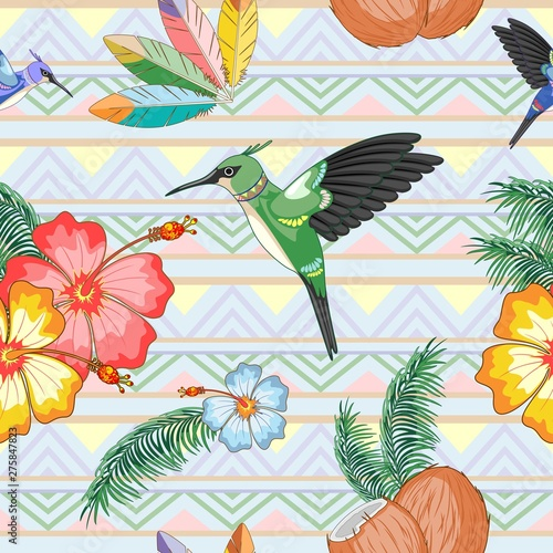 Foto auf AluDibond Ziehen Hummingbirds Ethnic Dance with Hibiscuses Vector Seamless Pattern Textile Design