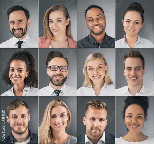 Fotografiet  Collage of portraits ethnically diverse business people.