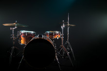 Drum Set On A Black Background With A Beautiful Soft Light